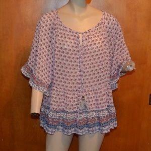 Knox Rose Sheer Peasant Boho Floral Shirt Size XXL